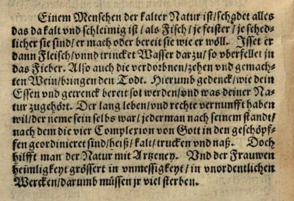 Text ur en kokbok från 1500-talet som berättar om människans fyra kroppsvätskor.