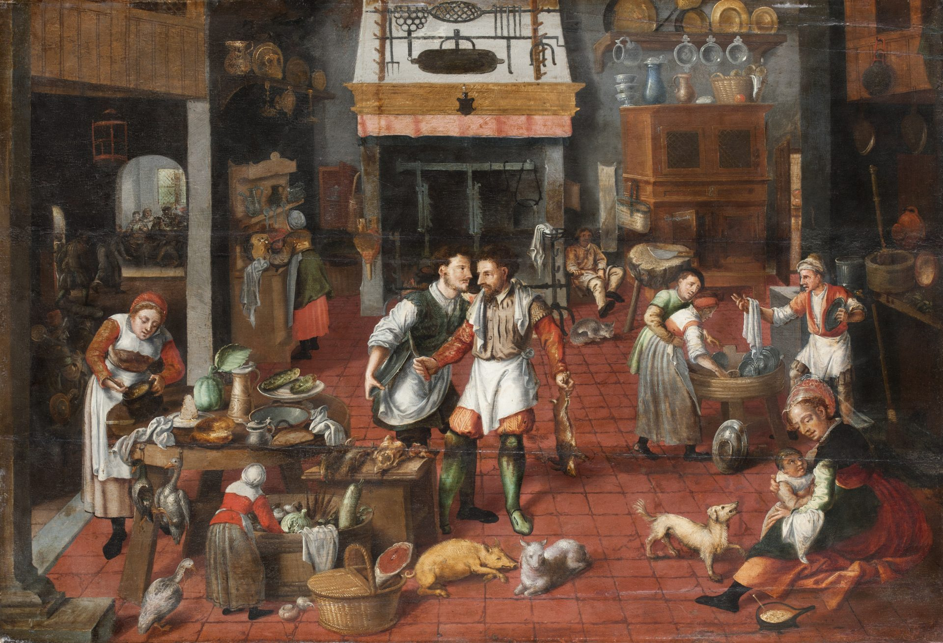 Målning av en köksinteriör från 1500-talet