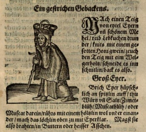 Text och bild ur en kokbok från 1500-talet om kakor.