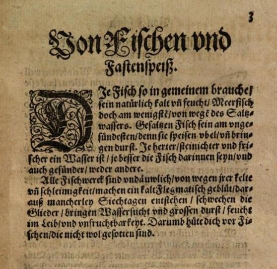 Text ur kokbok från 1500-talet som handlar om fisk.