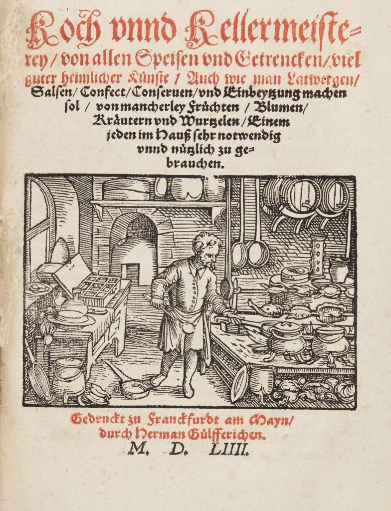 Försättsblad från en kokbok från 1500-talet