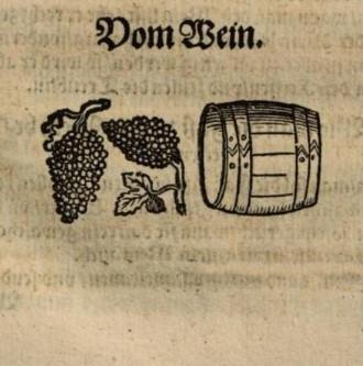 Ett trätryck föreställande en vintunna och några vindruvor.