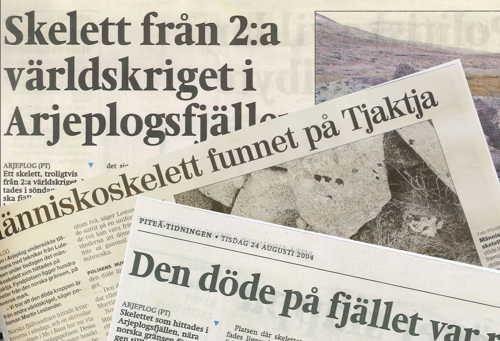 Tidningsurklipp som handlar om skelettfyndet i fjällen.