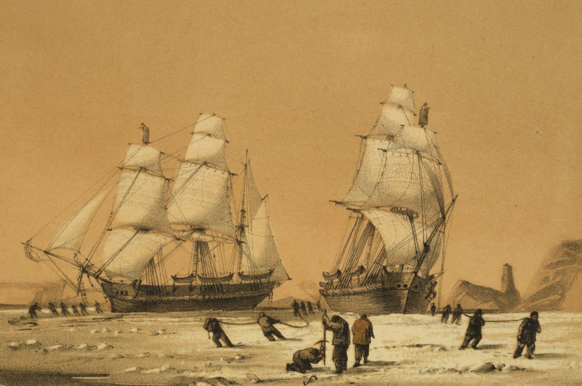Skepp som fastnat i isen.
