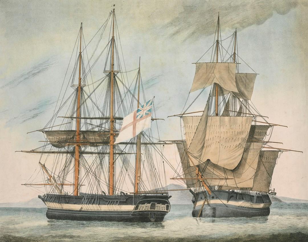 Färglagd etsning föreställande segelfartygen Fury och Hecla 1823.