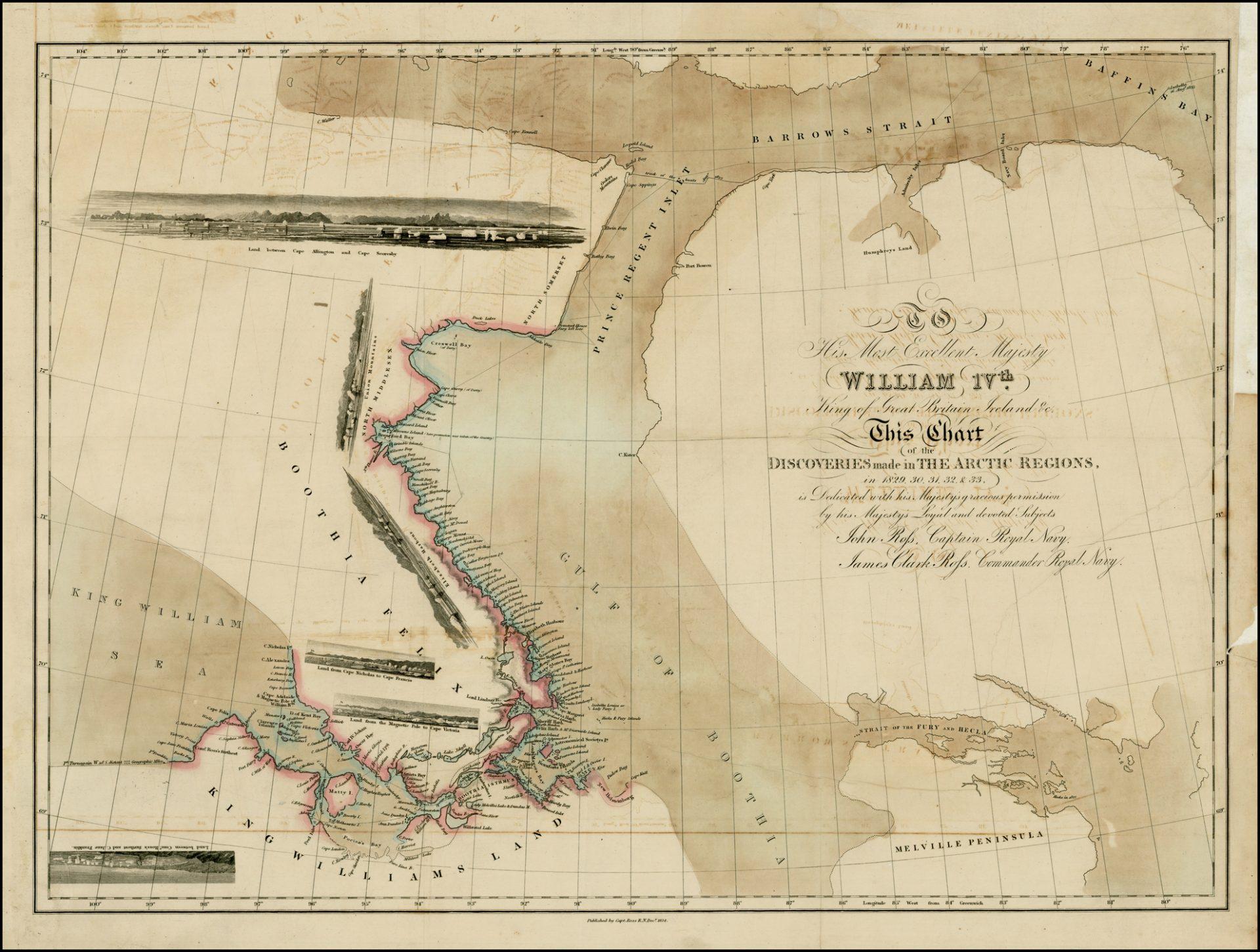 Karta över Arktis från 1834.