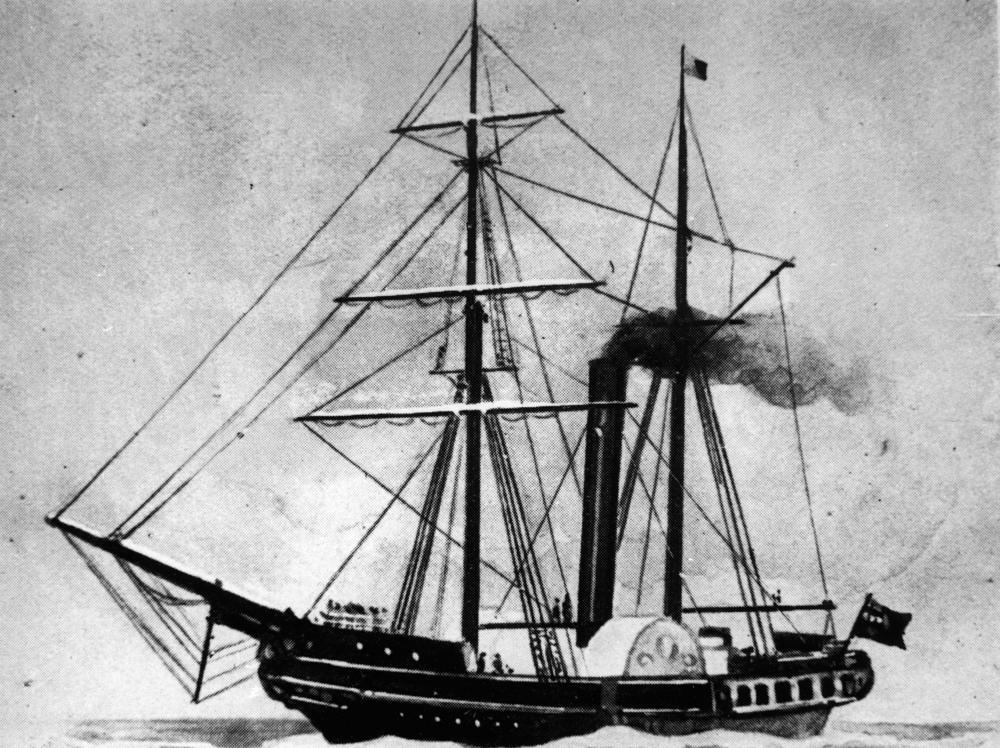 Ett tidigt ångfartyg.