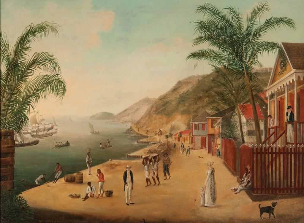 Målning som föreställer en hamn. Många människor går omkring. Till höger finns flera hus av trä.