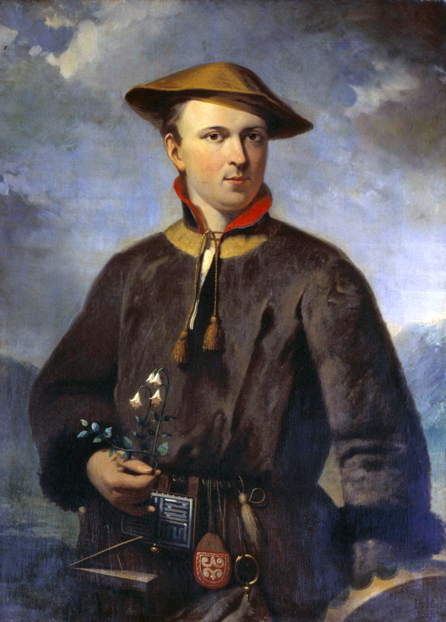 Porträtt av Carl von Linné som håller en linnea i handen.