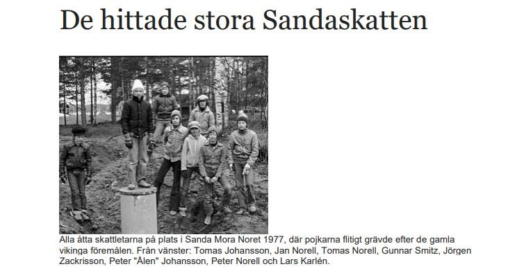 Bild av pojkarna som hittade Sandaskatten, ur en tidningsartikel från 2012