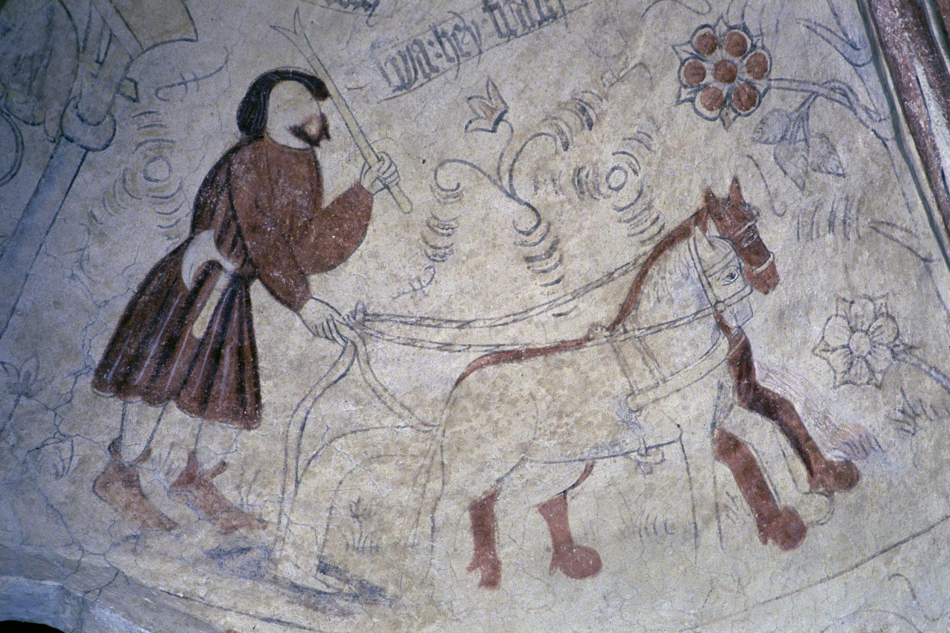 Kalkmålning i Fjälkinge kyrka föreställande en plöjande bonde