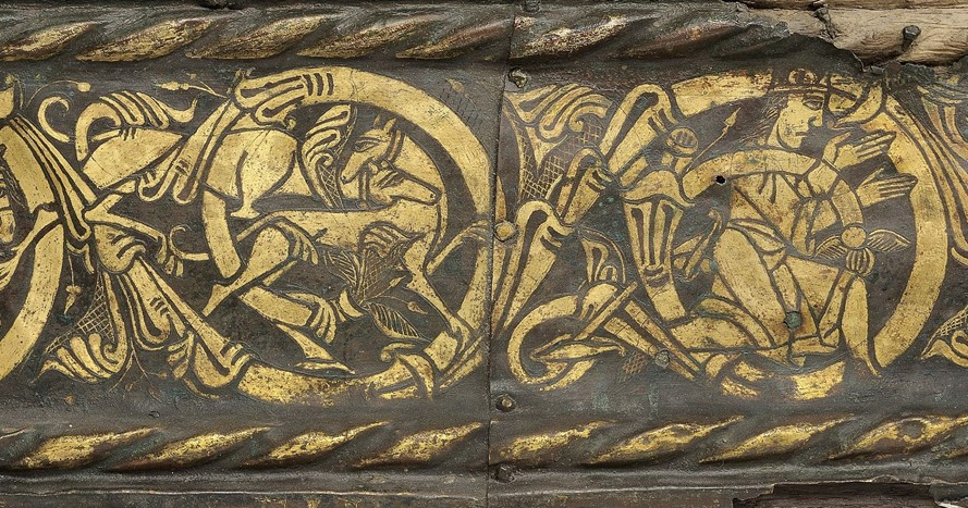 Detal av altaret som visar legenden om Hubertus.