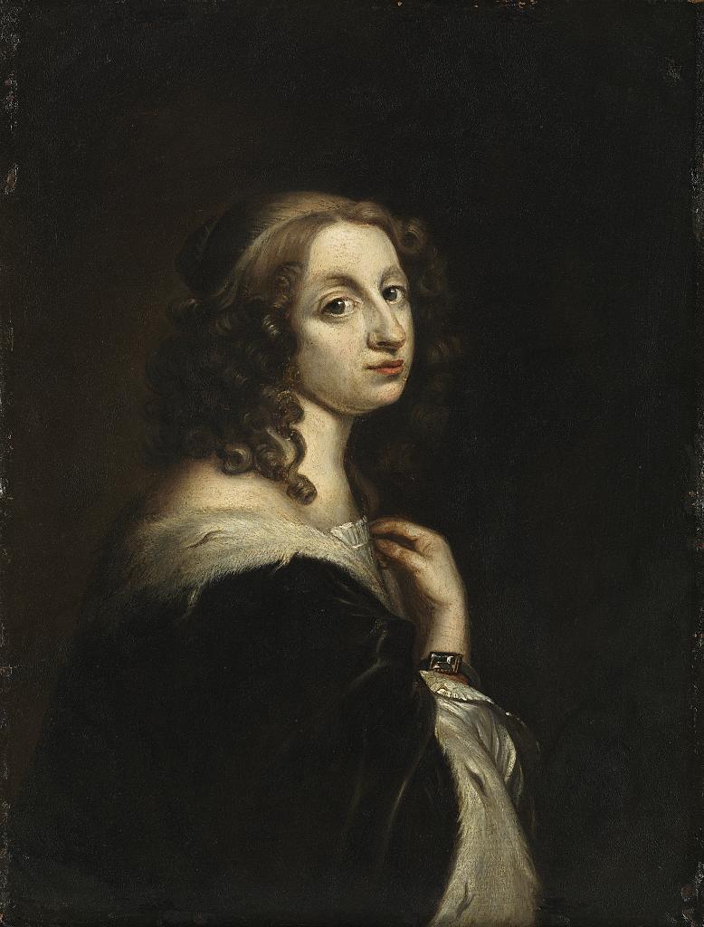 Porträtt av Drottning Kristina i mörk mantel med pälsbräm