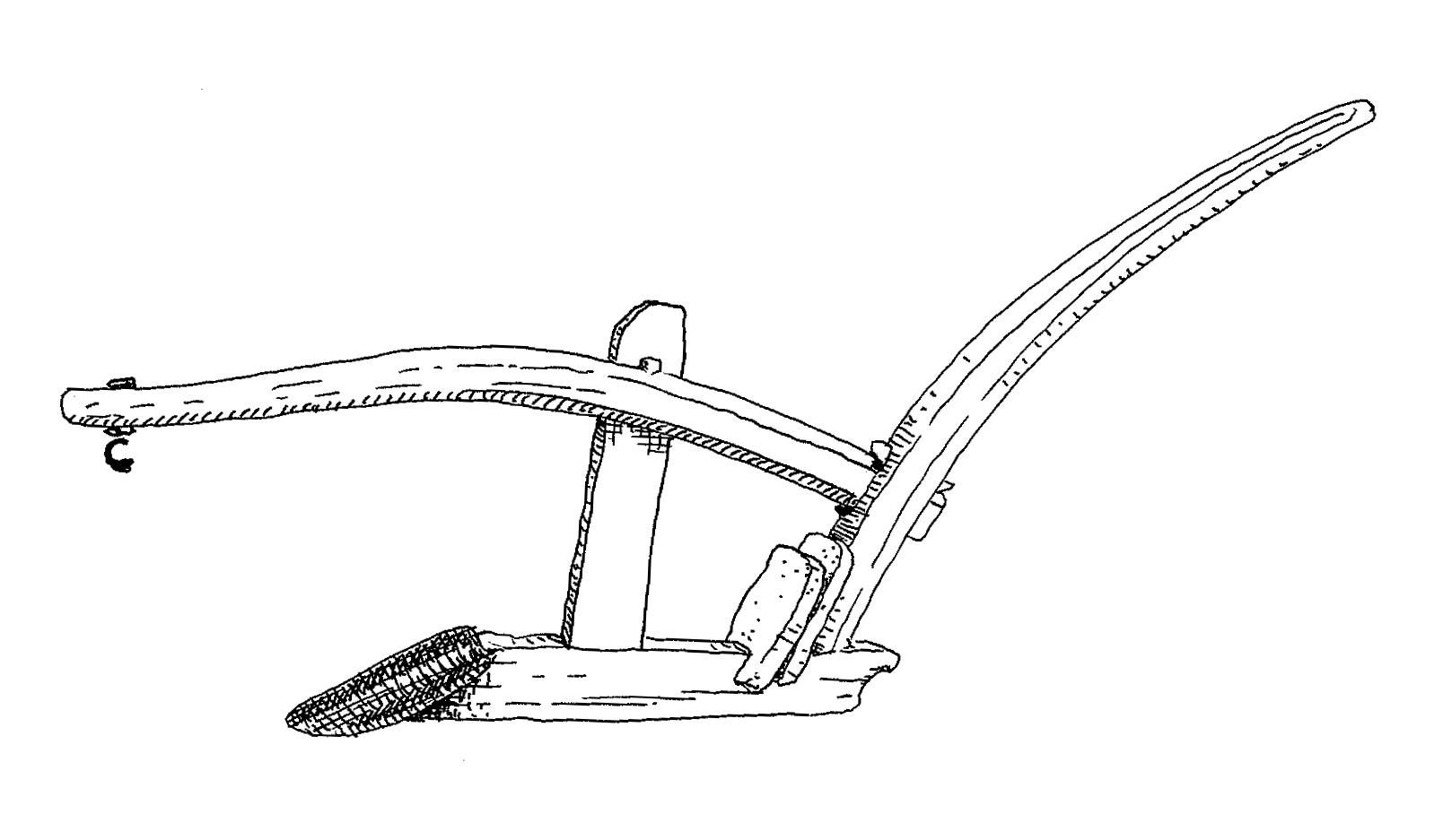 Teckning av en årder, en gammal sorts plog