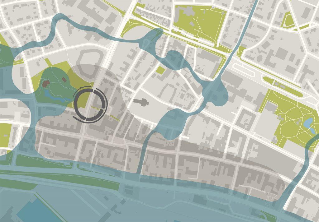 Karta över staden Trelleborg, där trelleborgen är utmärkt.