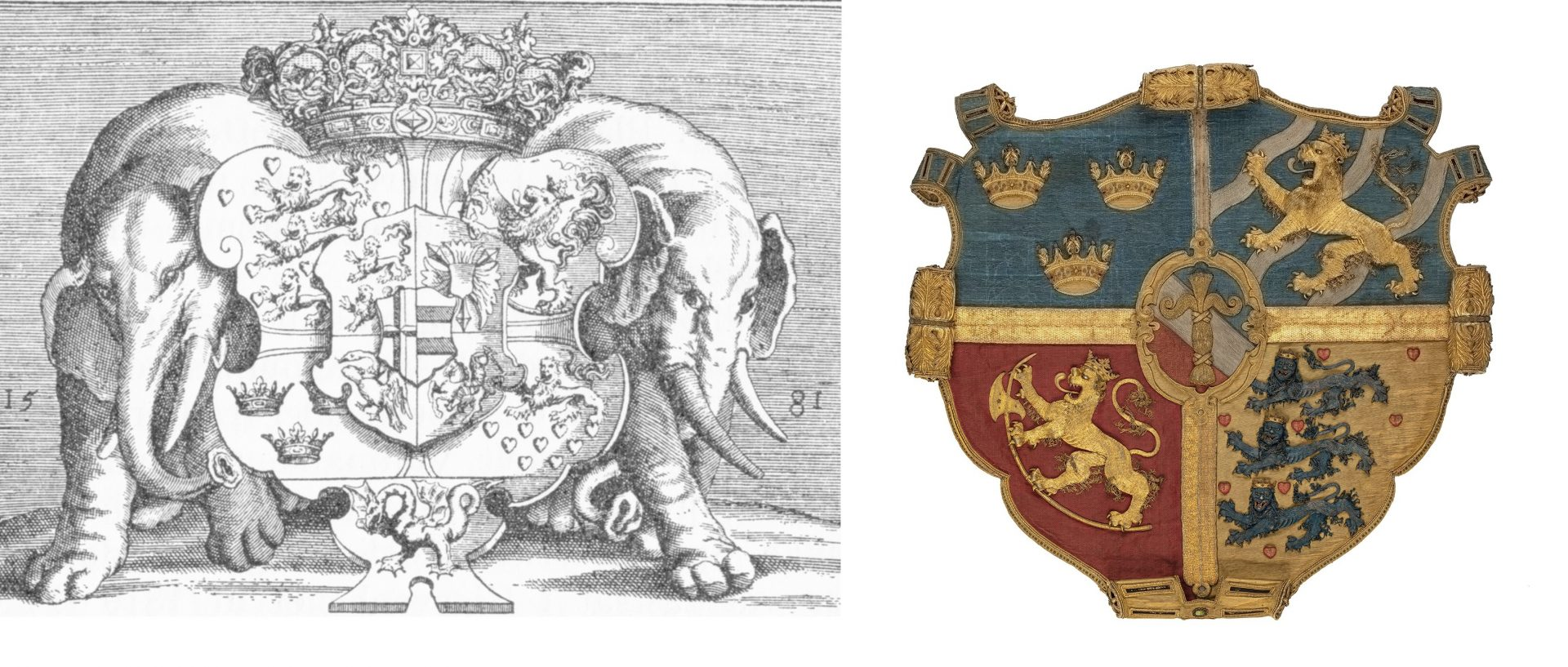 Bild av Frederik II:s och Erik XIV:s vapensköldar.