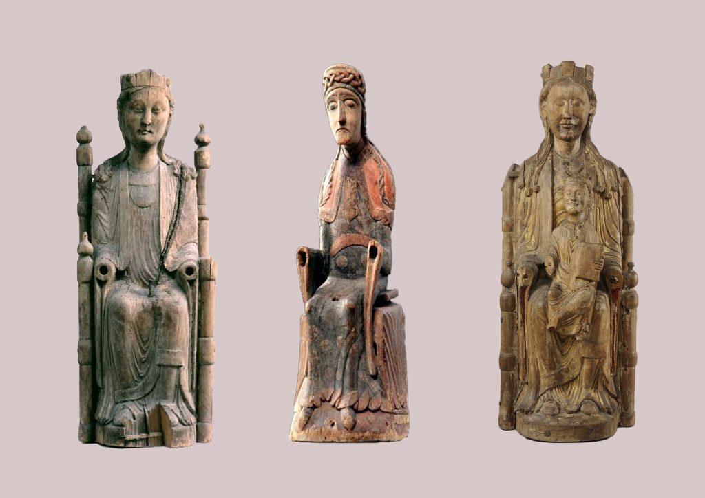 På Historiska museet finns många bevarade madonnaskulpturer från Sveriges katolska tid. De här tre skulpturerna hör till Historiska museets samlingar.