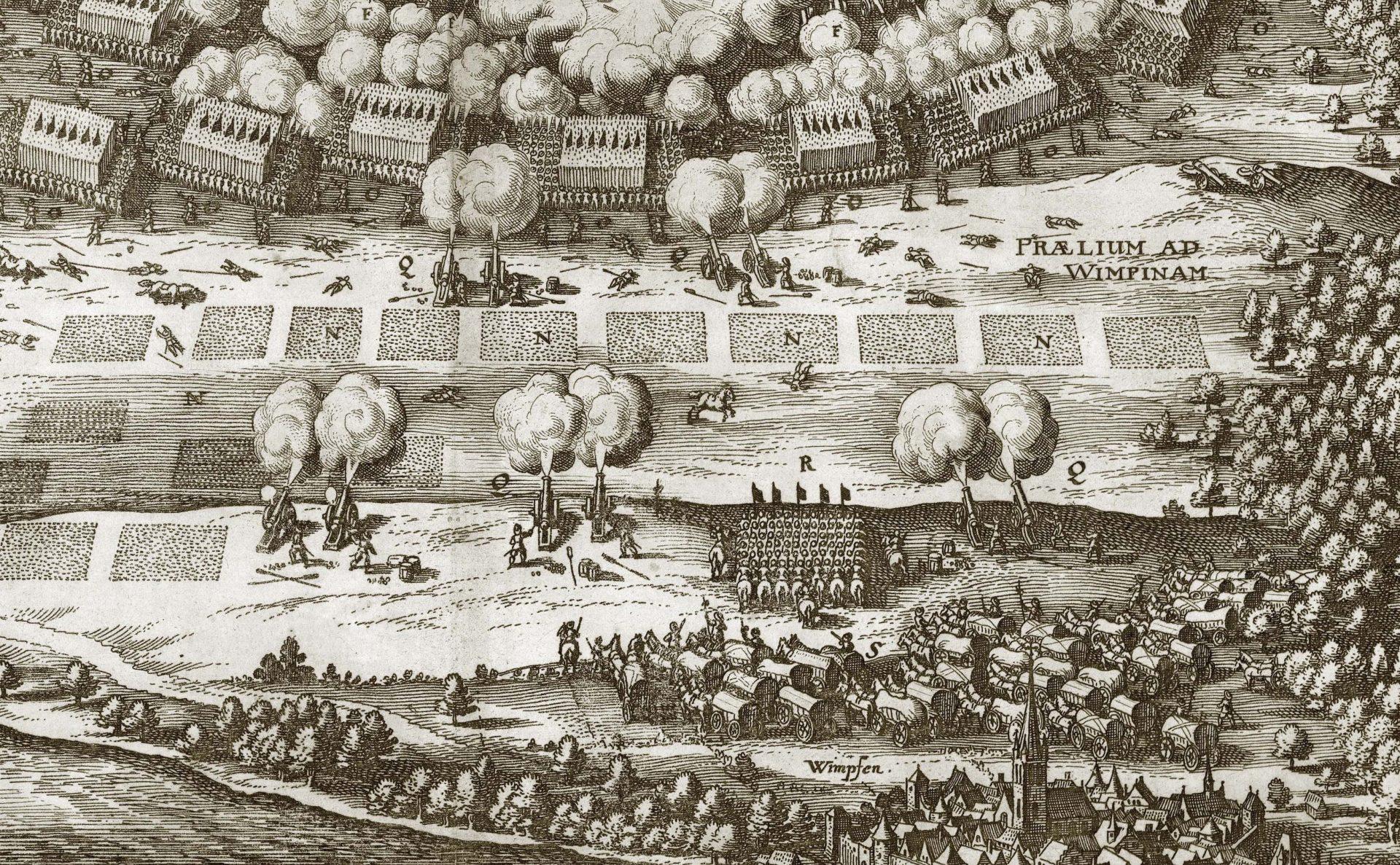Kopparstick som visar ett slag. Man ser kanoner som skjuter mot fotsoldater. I förgrunden många vagnar med hästar.