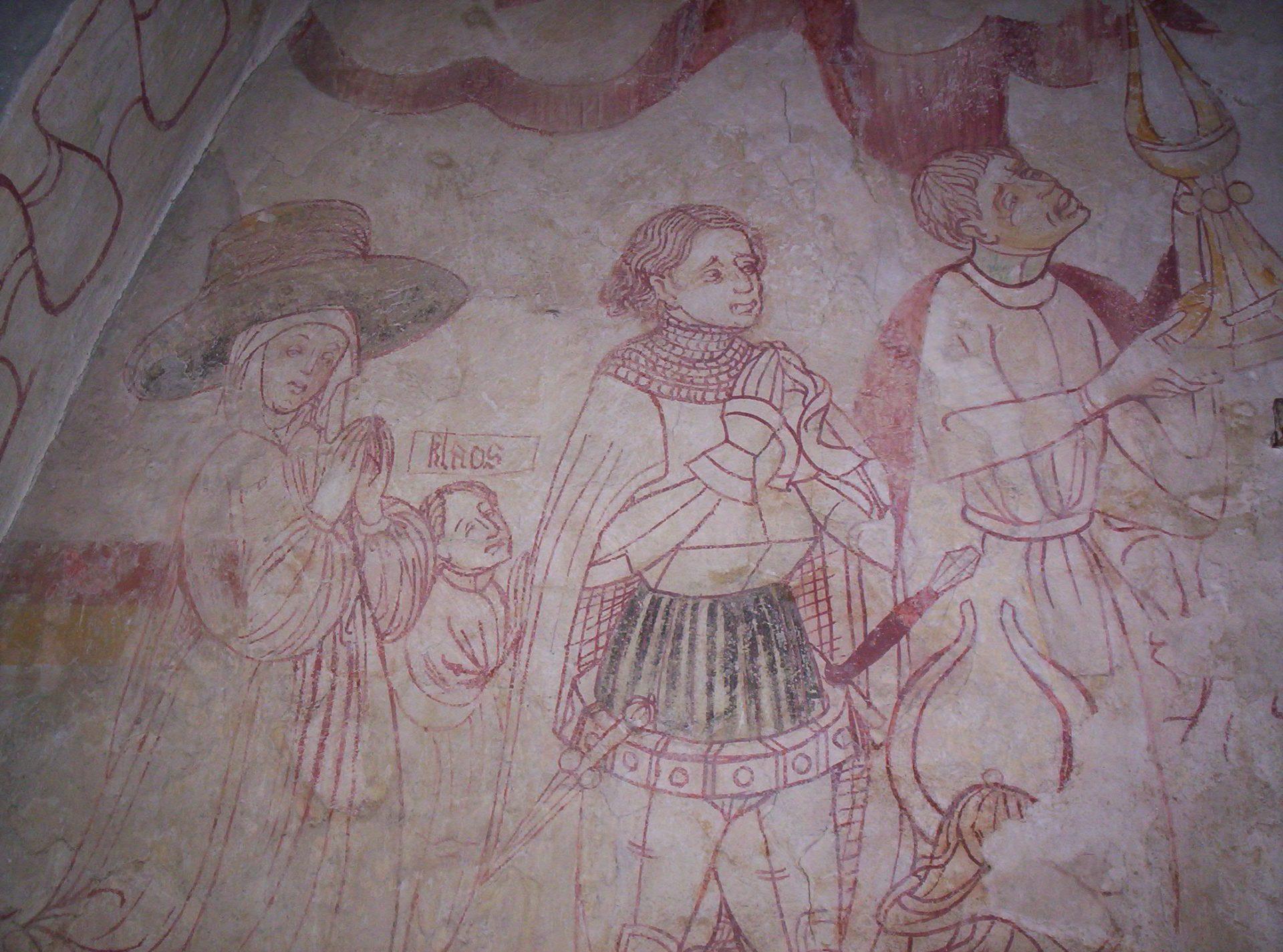 Kalkmålning föreställande en riddare med familj