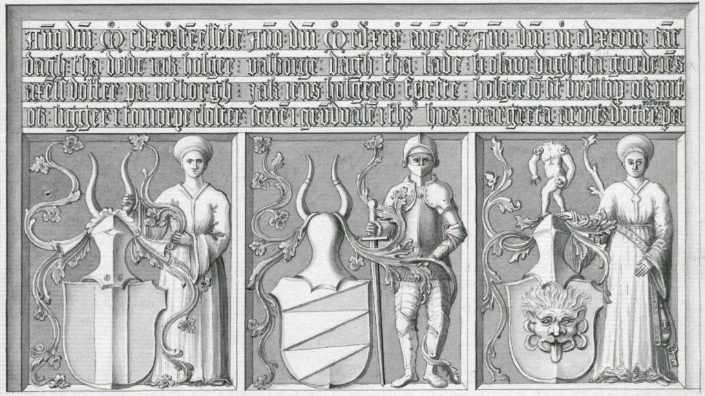 Bild föreställande en stentavla från 1499 med figurer och inskriptioner.