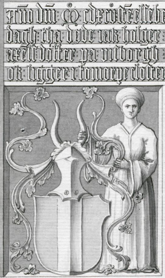 Detaljbild av stentavlan på Glimmingehus