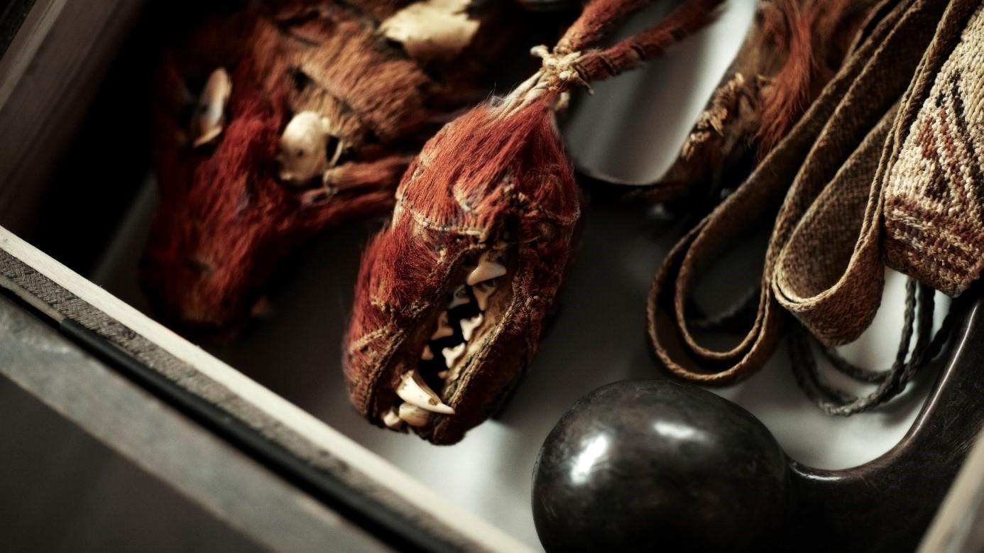 Föremål som ser ut som djurhuvuden, med röd päls och stora, vassa tänder. Bredvid ett vävt band och en trästav med en kula i ena änden.