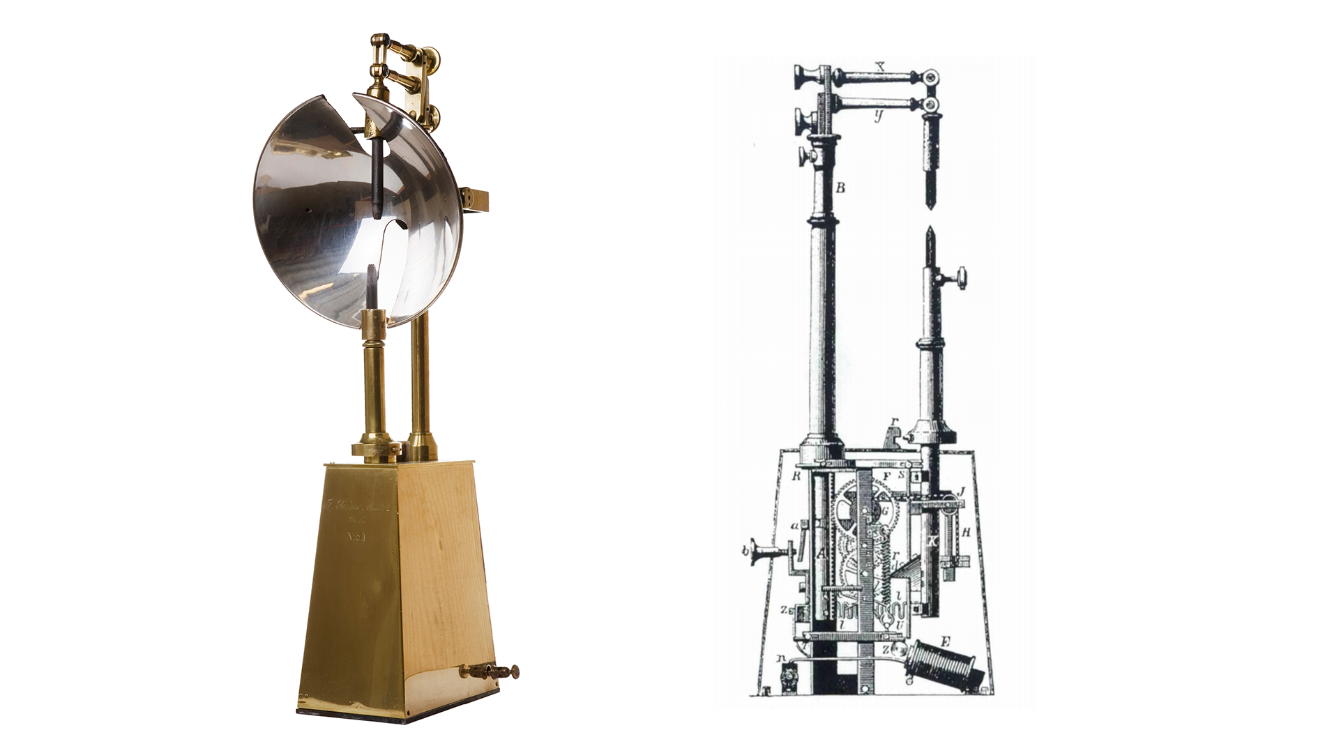 En bågljuslampa bredvid en teknisk teckning av en likadan lampa.