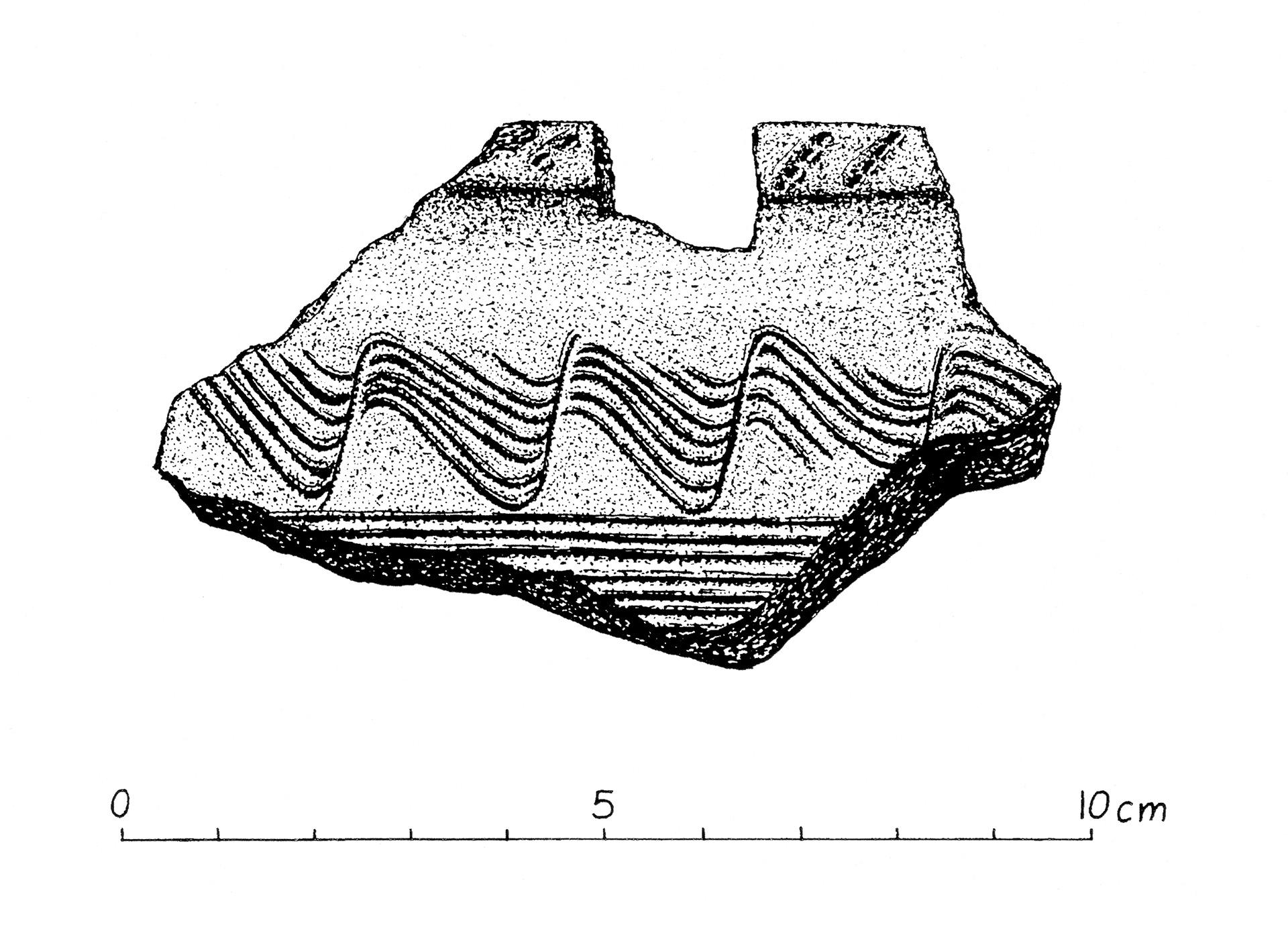 Teckning av keramikskärva som hittades vid trelleborgen.
