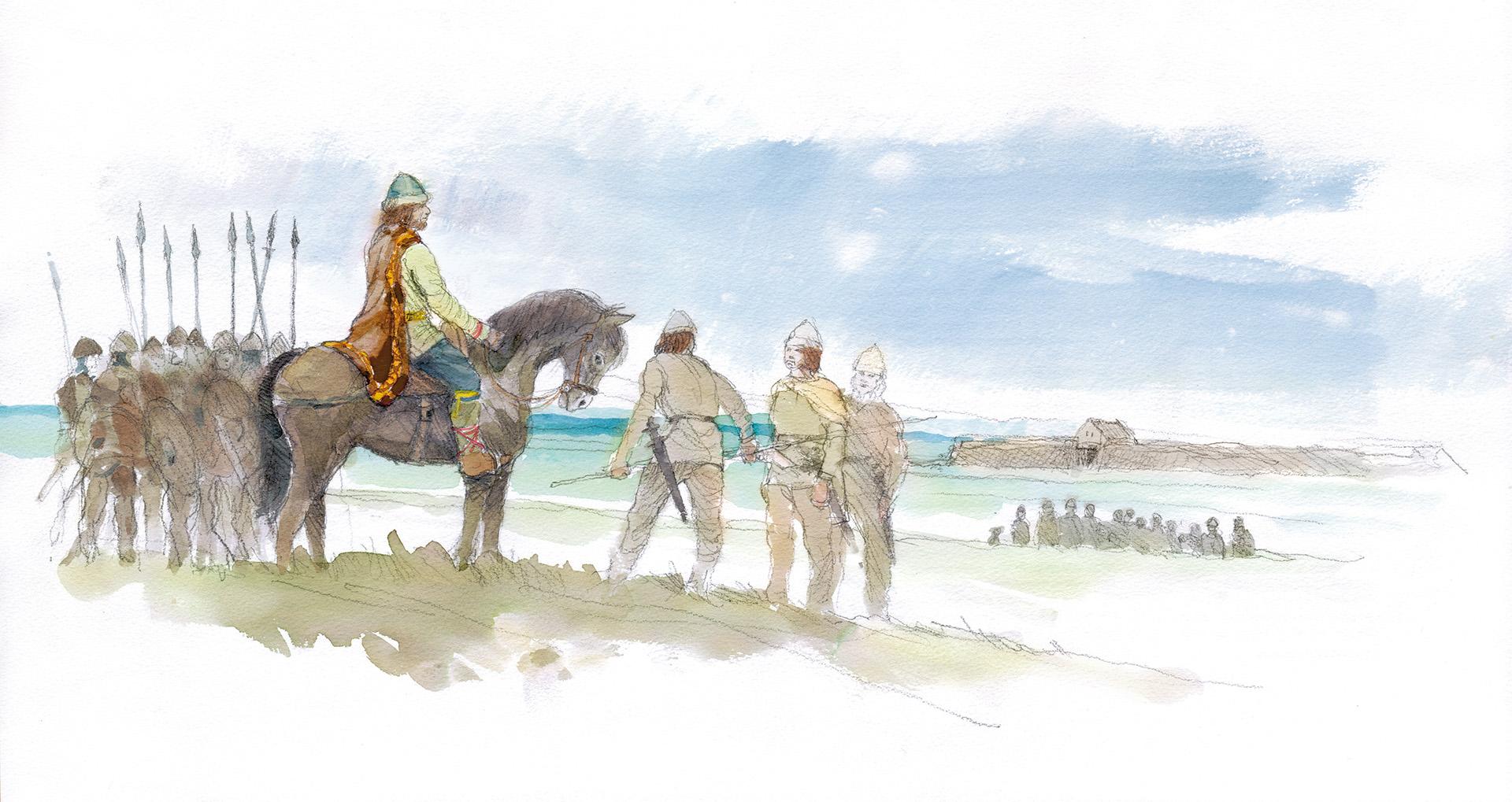 Teckning med hästar och människor nära en strand.