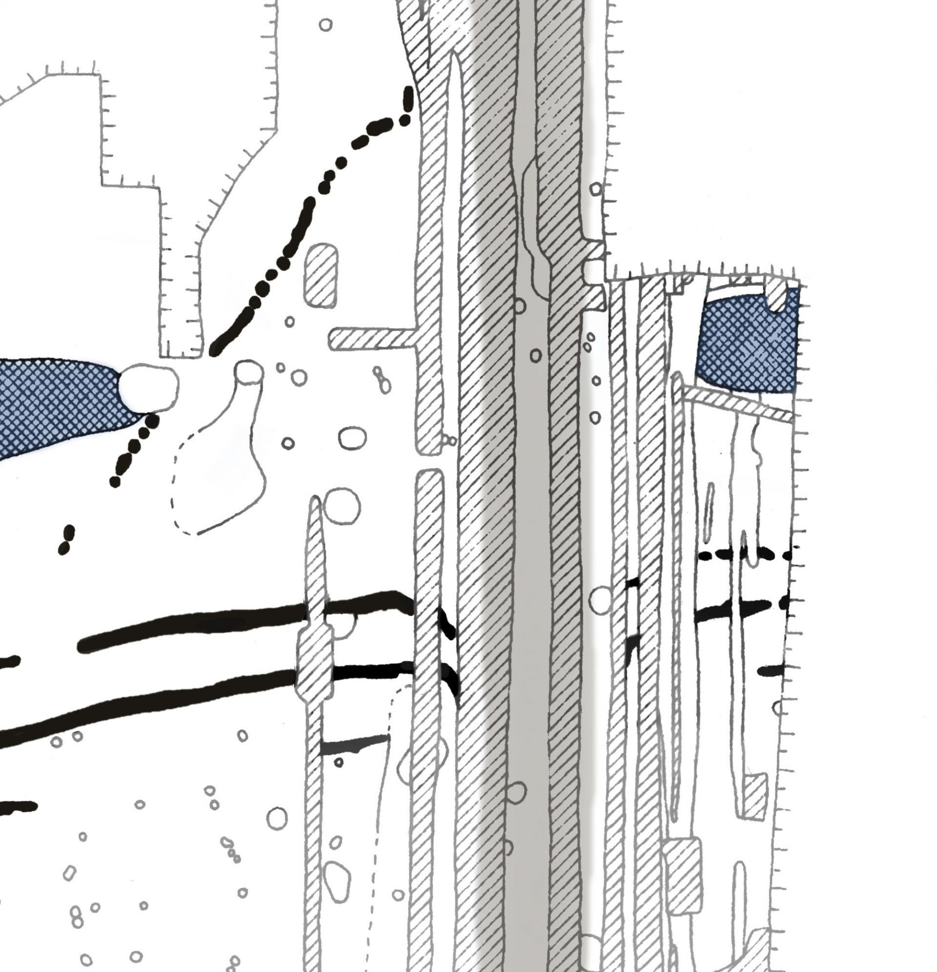 Utsnitt av arkeologernas teckning. Visar Norrporten.