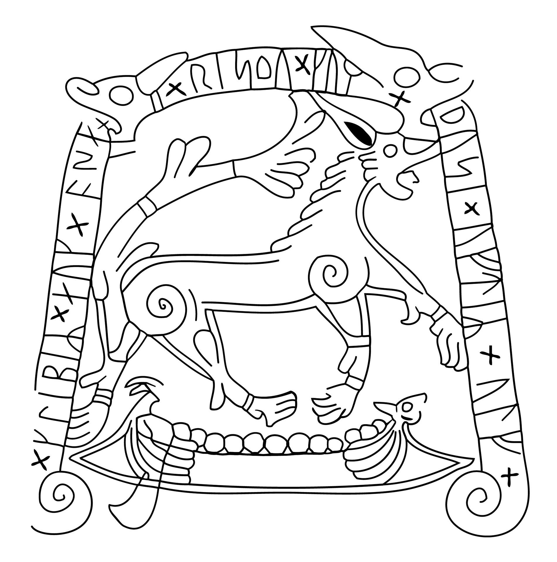 Teckning av runstenen i Tullstorp.