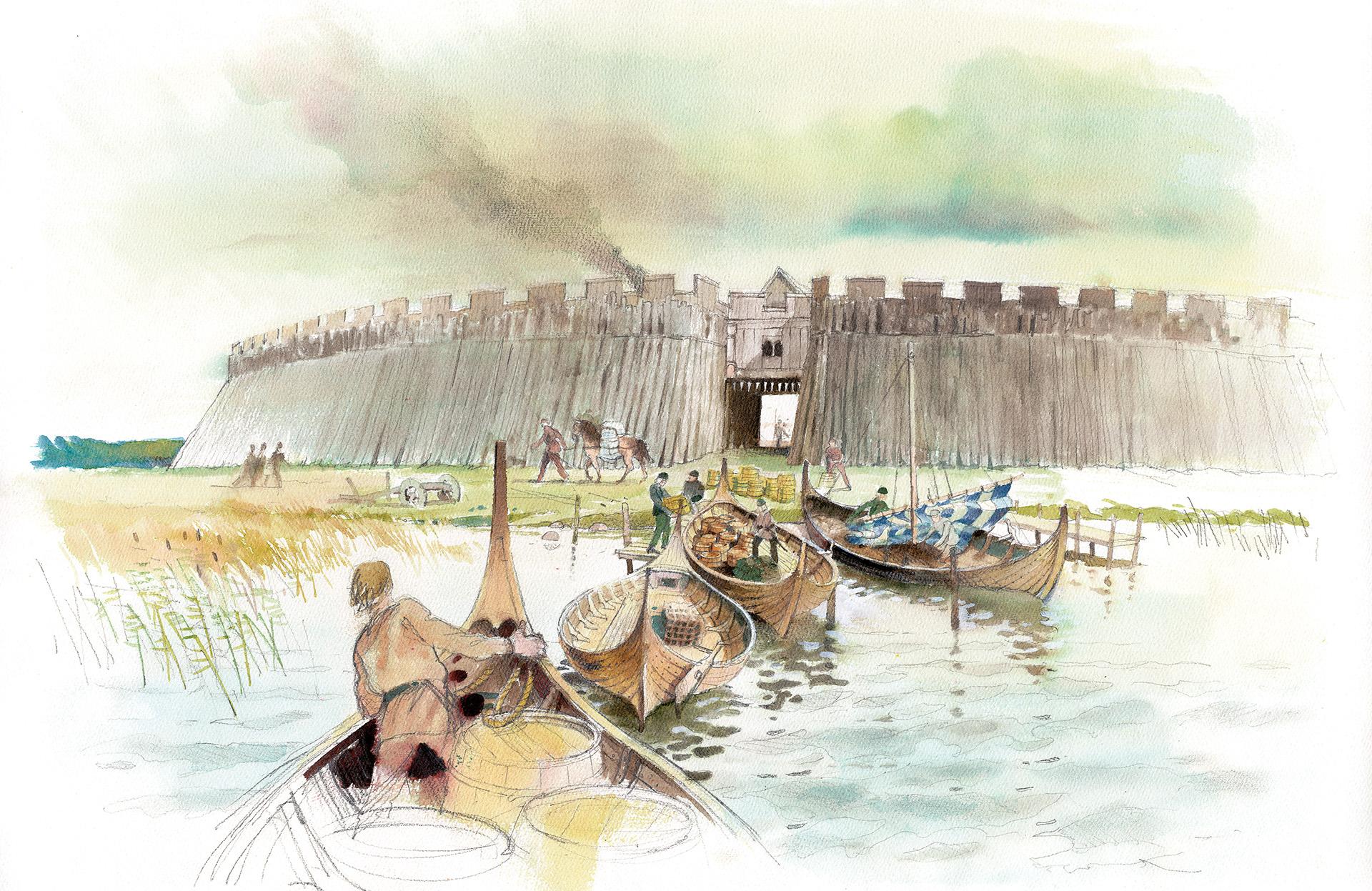 Teckning av vikingaborgens västra port.