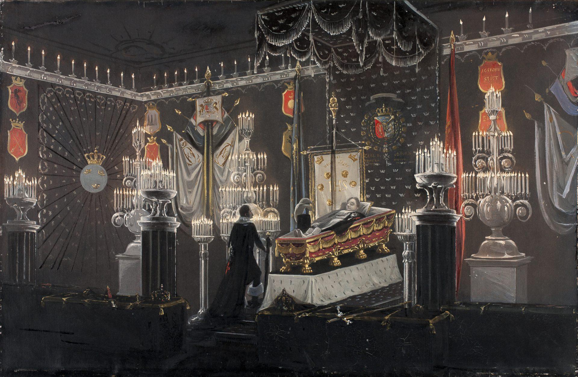 Målning av ett mörkt rum med en likkista och en man i slängkappa som sörjer.