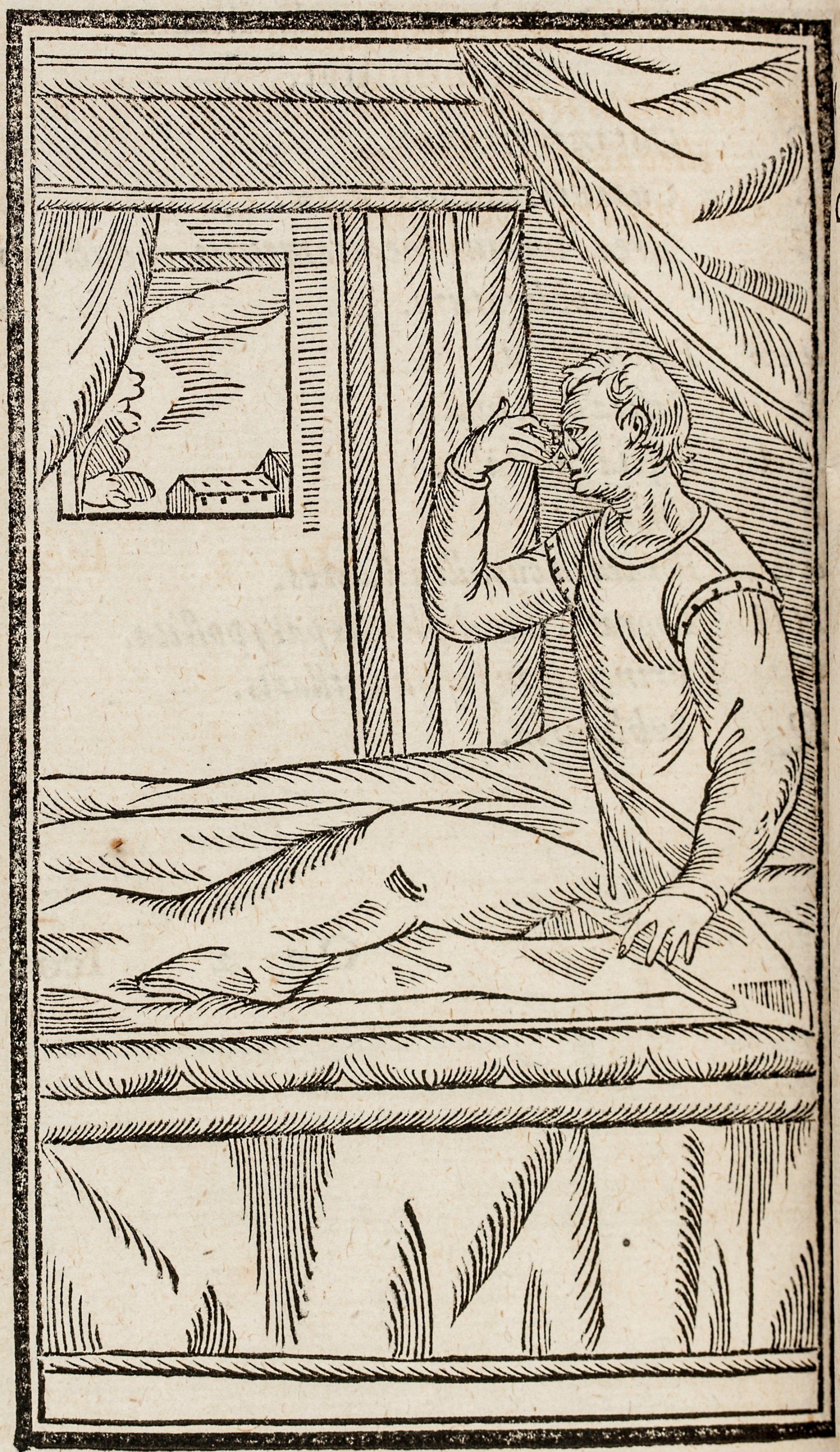 Trätryck som föreställer en man som sitter i en säng och drar med ena handen över ansiktet.
