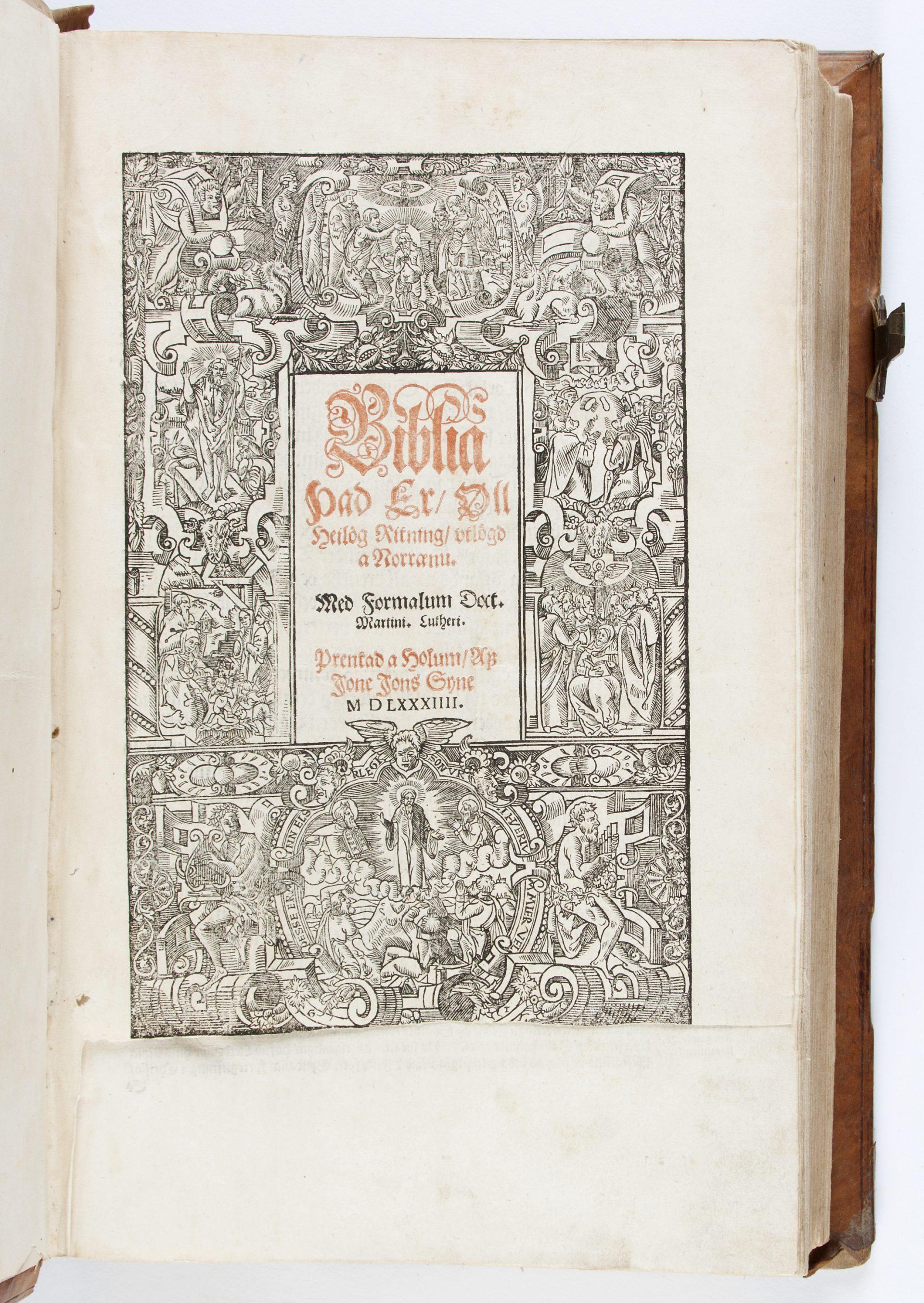 Titelblad till Bibeln på isländska.