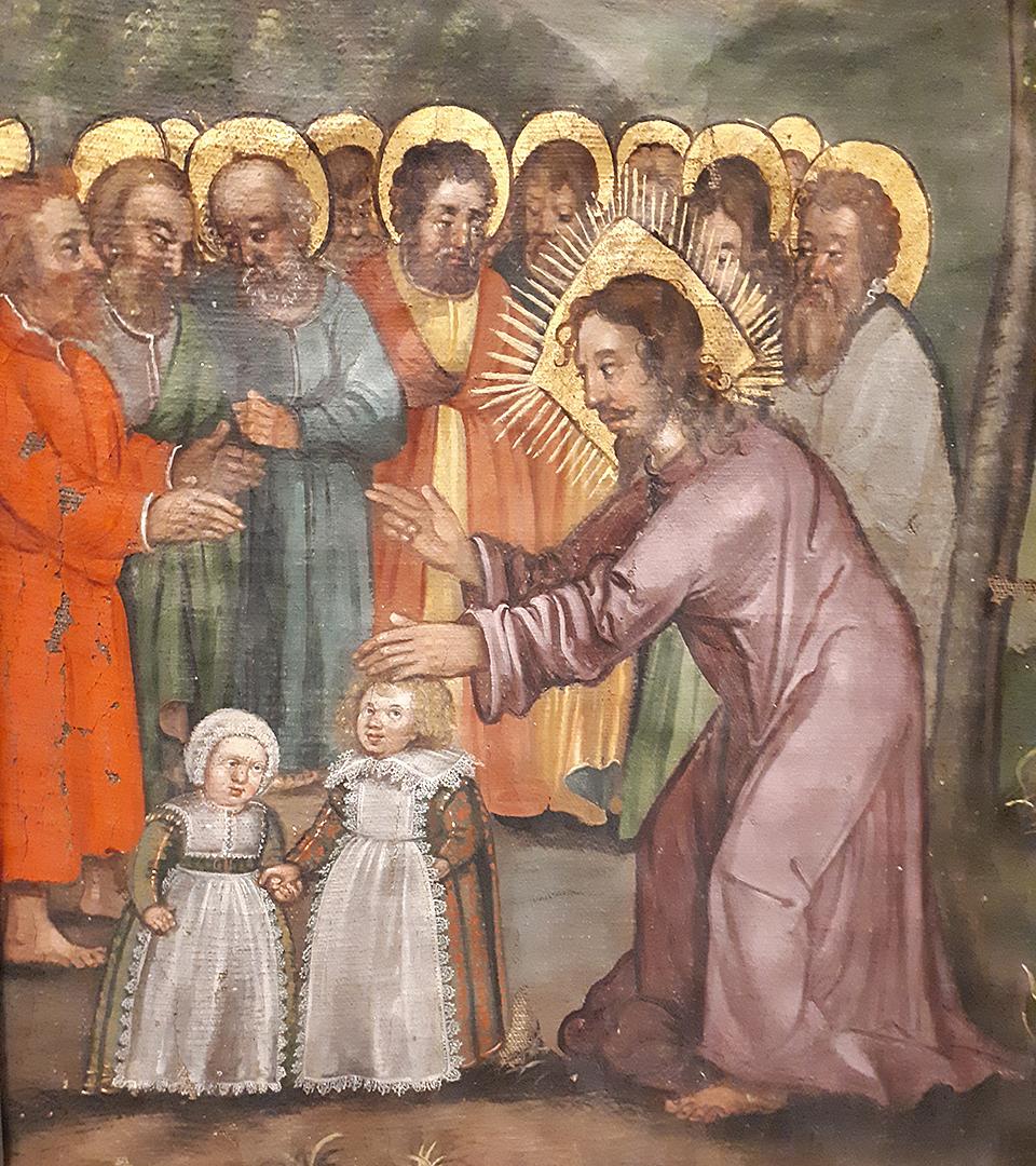 Målningen föreställer Jesus som håller sina händer över två små barn. Bakom står en samling vuxna.