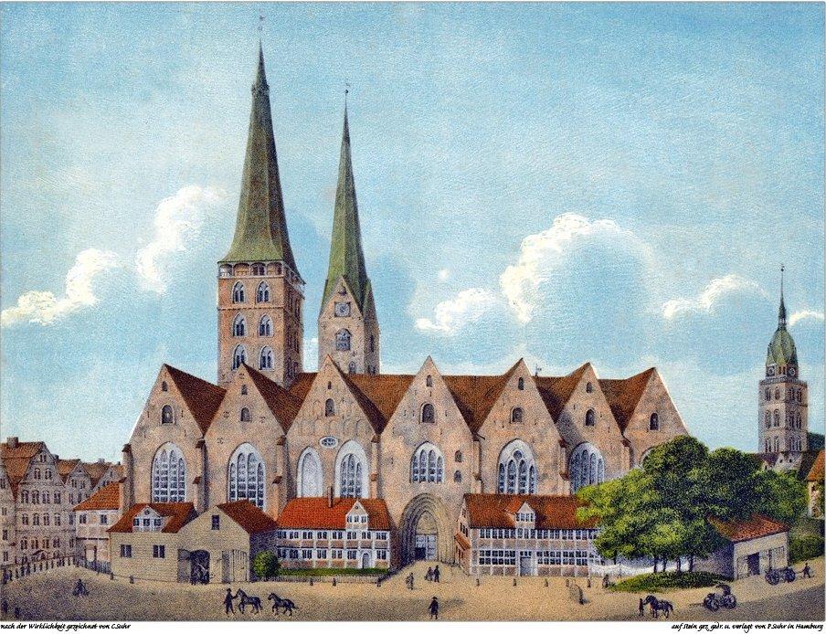 Litografi av Hamburgs gamla domkyrka.