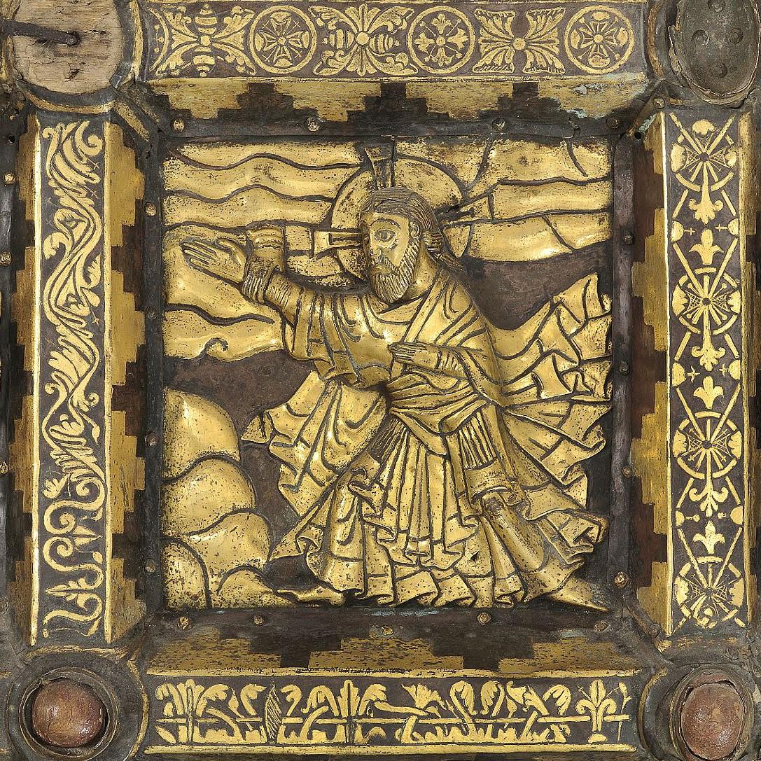 Bild ur Broddetorpsaltaret föreställande Kristi himmelsfärd.