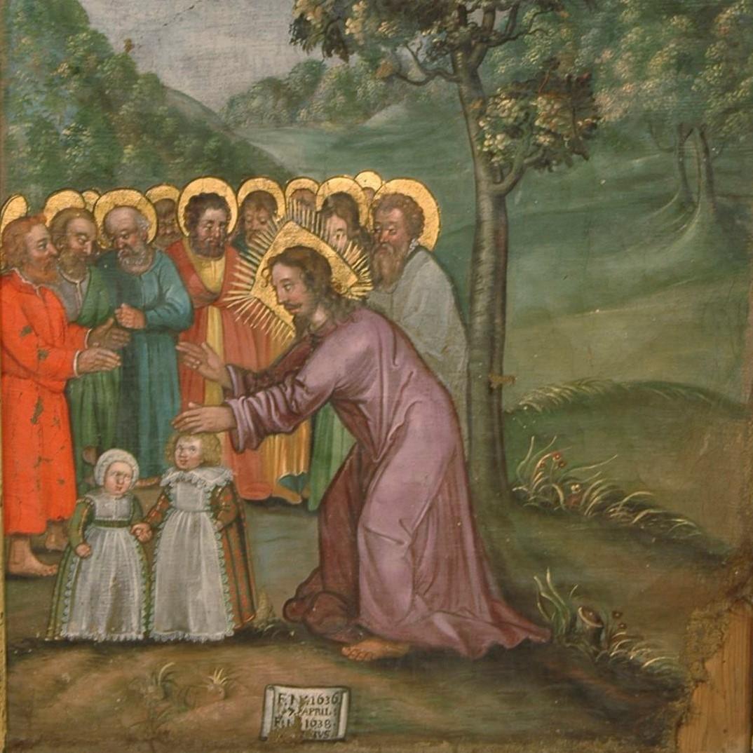 Målning föreställande Jesus som välsignar barn.