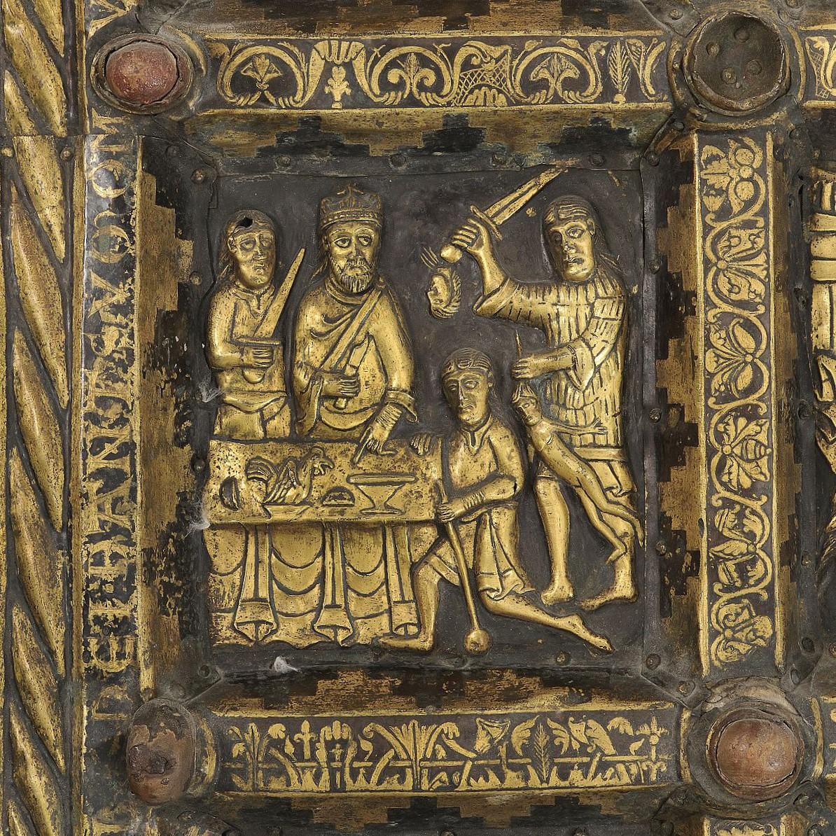 Detalj av Broddetorpsaltaret som visar legenden om Staffan stalledräng.