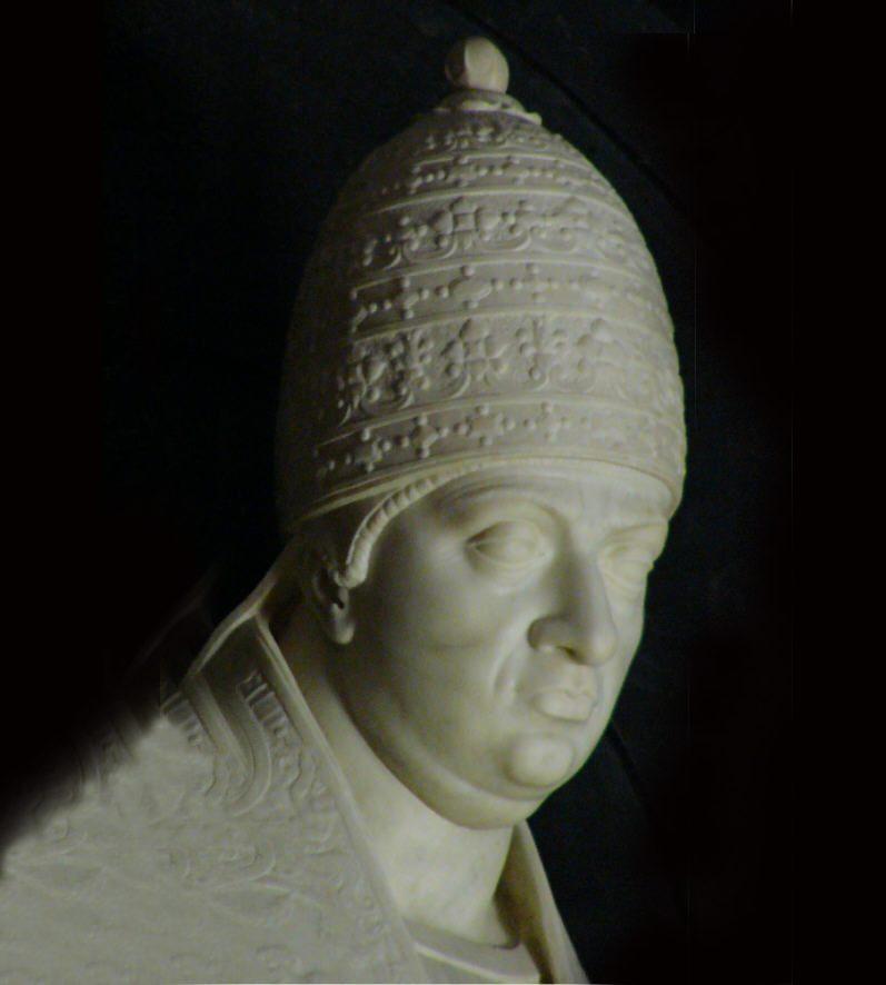 En byst av marmor föreställande påven Leo den tionde.