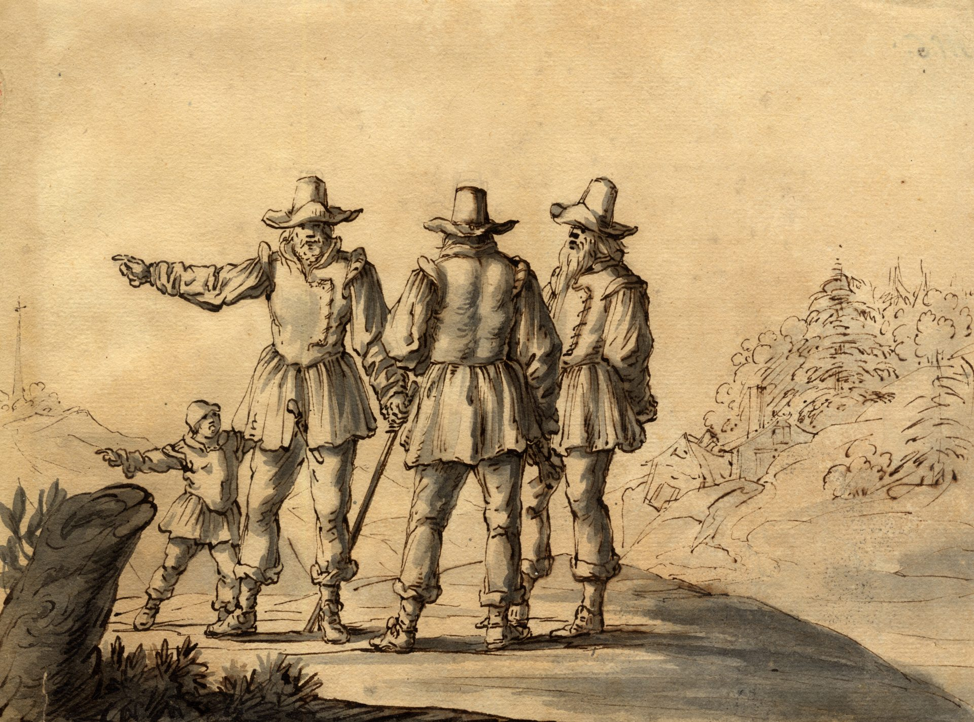 Teckning av tre män och ett barn klädda i jackor, långbyxor, stövlar och hatt.