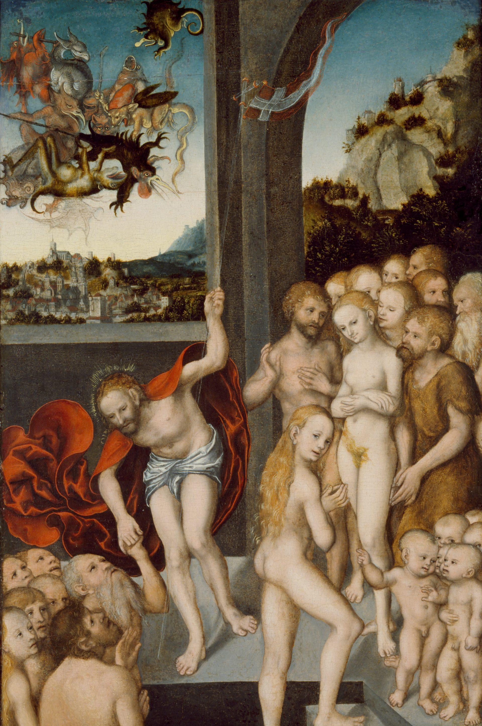 Målning av Lucas Cranach föreställande Kristus i limbo.