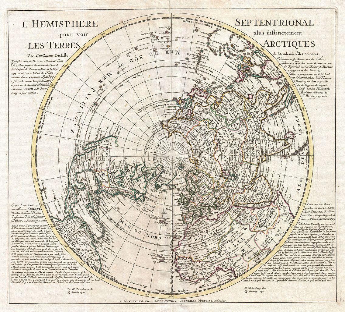 Karta över Nordpolen och Arktis.