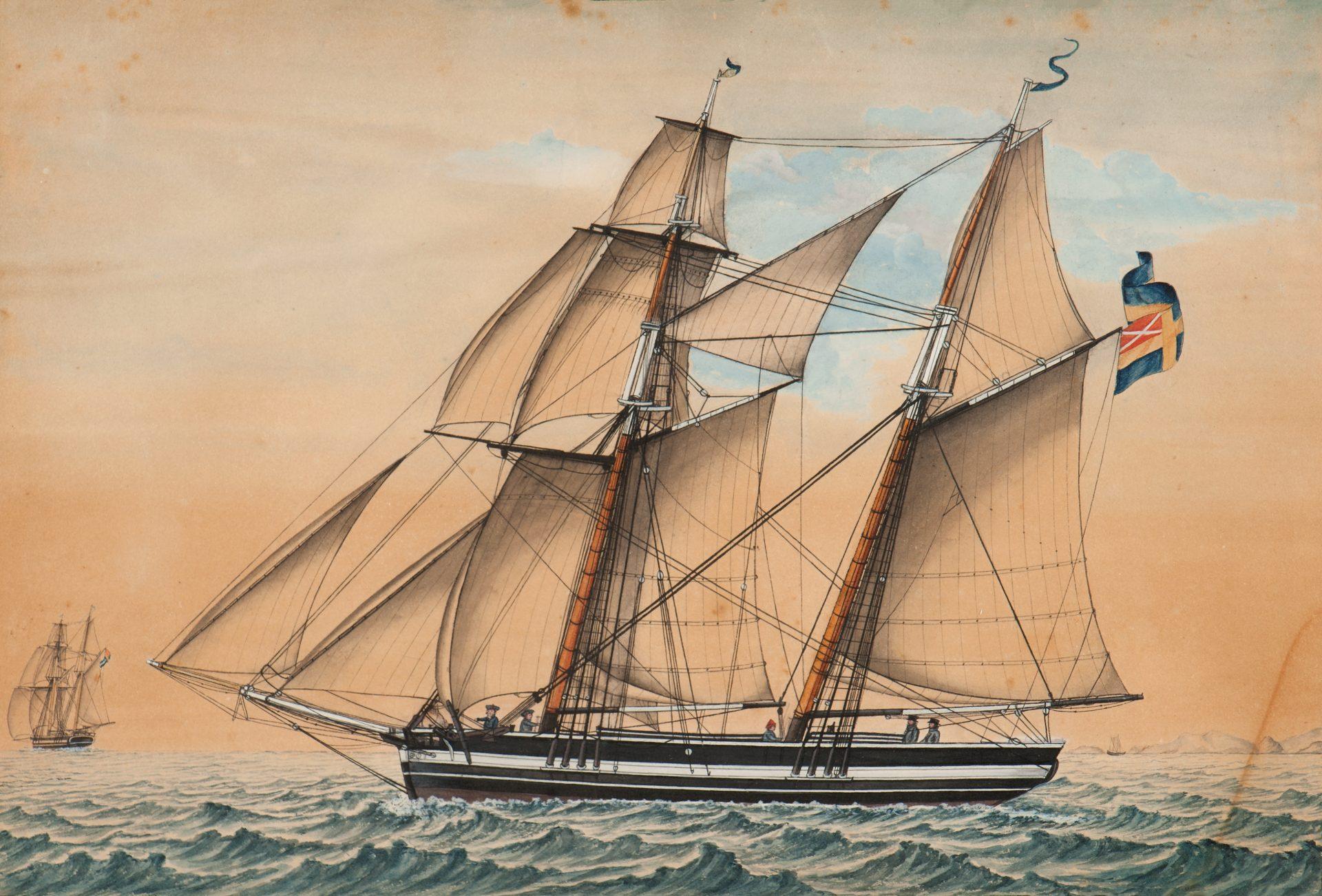 Ett segelfartyg.