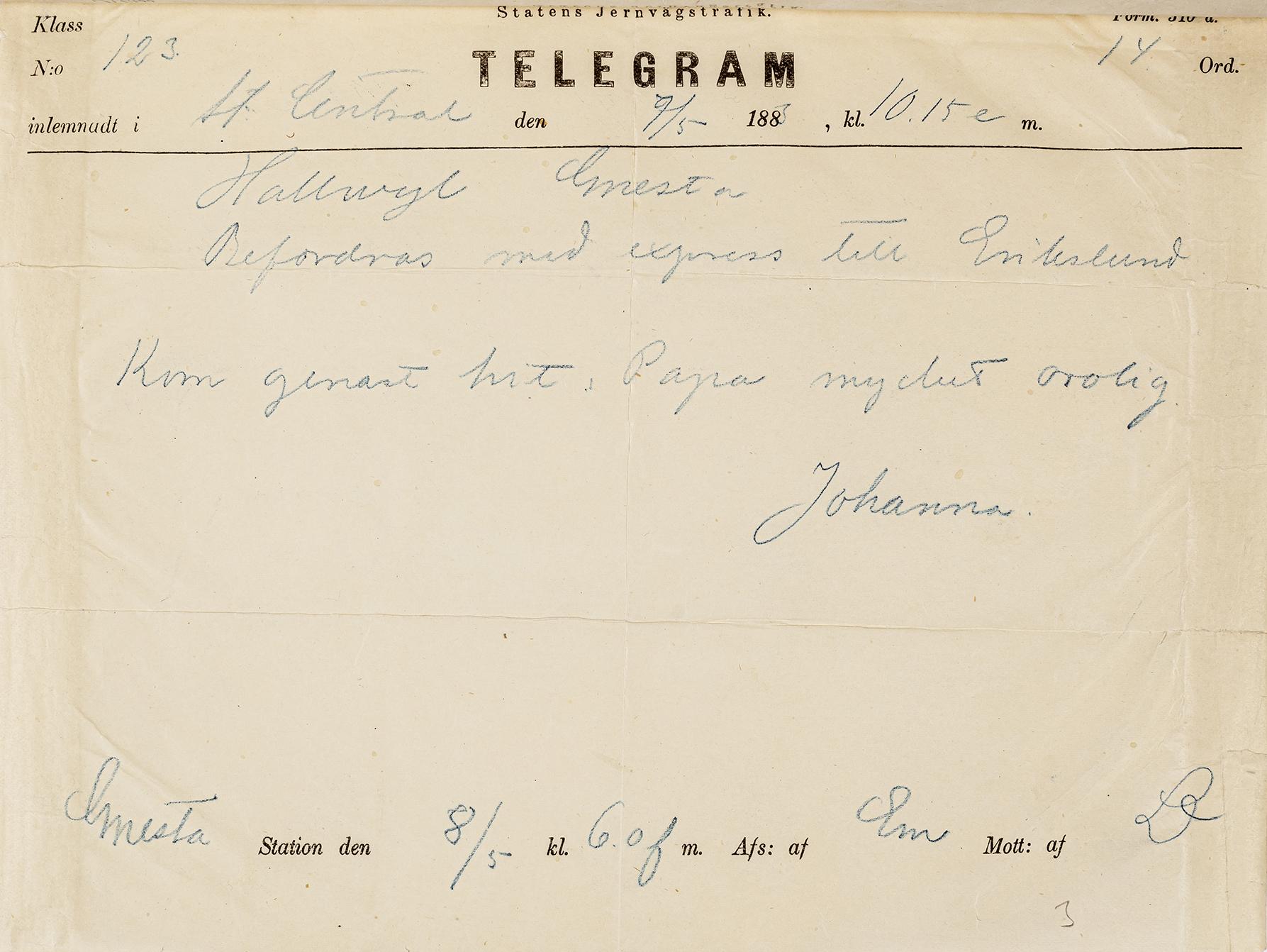 Telegram med handskriven text i blått bläck på gulnat papper.
