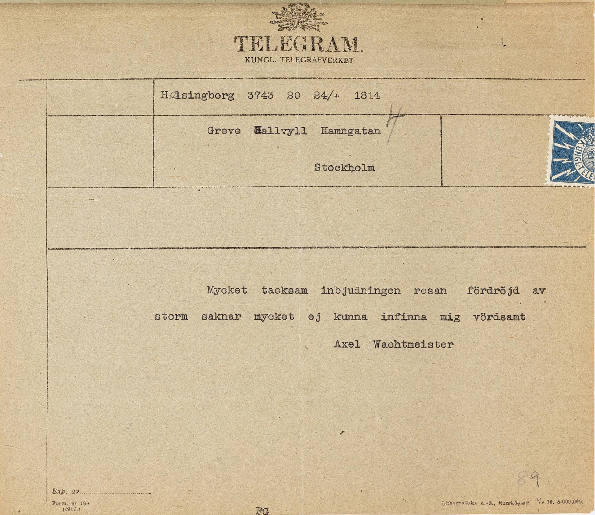 Telegram med maskinskriven text på gulnat papper. Högst upp Telegrafverkets logotyp.