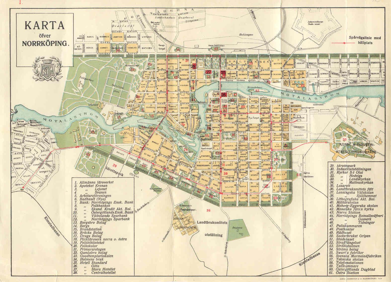 Karta över spårvägsnätet i Norrköping som byggdes ut till konst- och industriutställningen 1906.