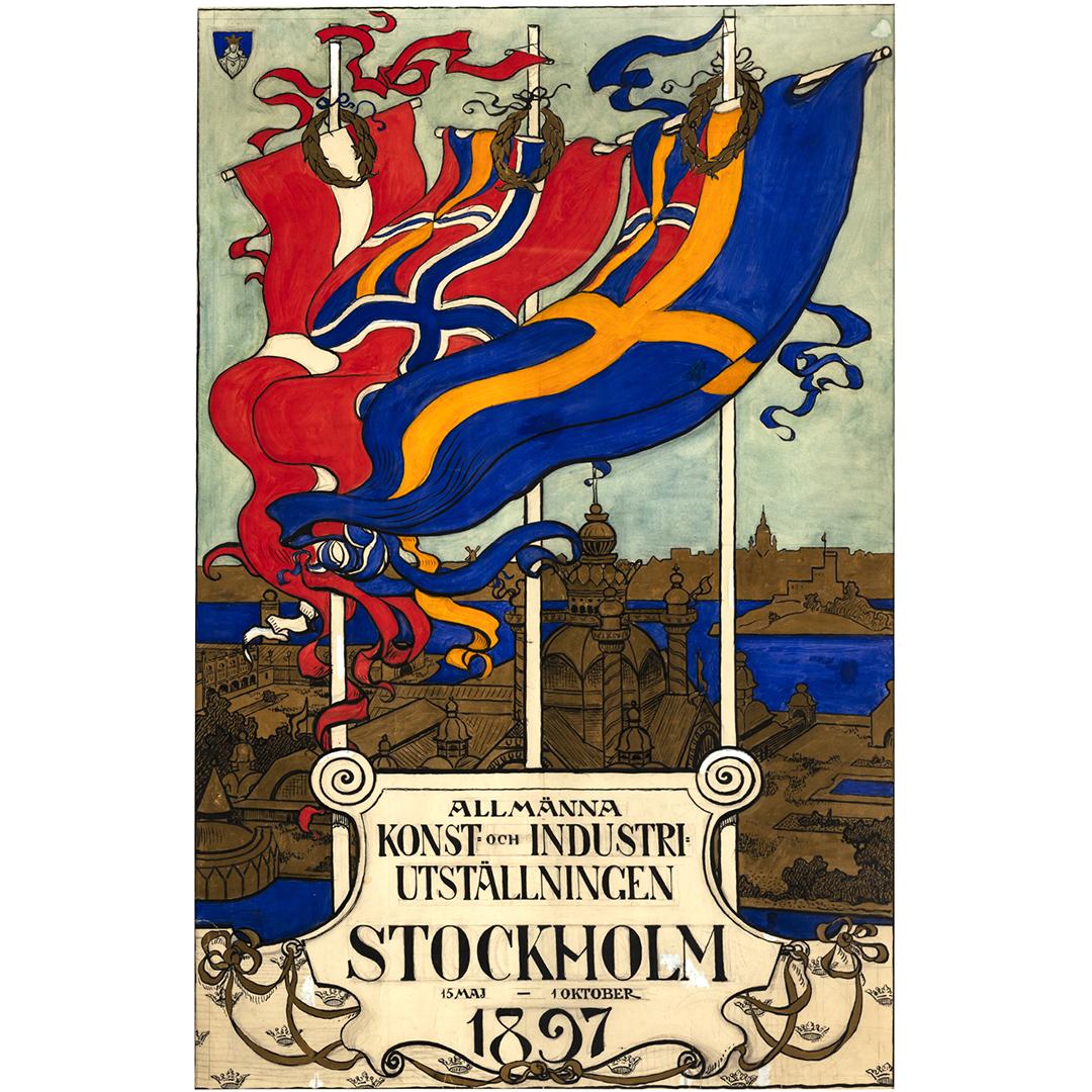 Affisch från Konst- och Industriutställningen i Stocholm 1897. Affischen är tecknad och visar svenska, norska och danska flaggor och en skiss över utställningsområdet.