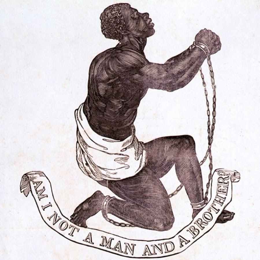 """Teckning av en svart man i kedjor. Under bilden en banderoll med engelsk text som lyder """"Är jag inte en man och en broder?""""."""